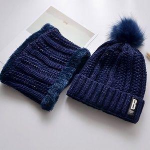 Accessories - Winter hat & neck warmer set -Blue